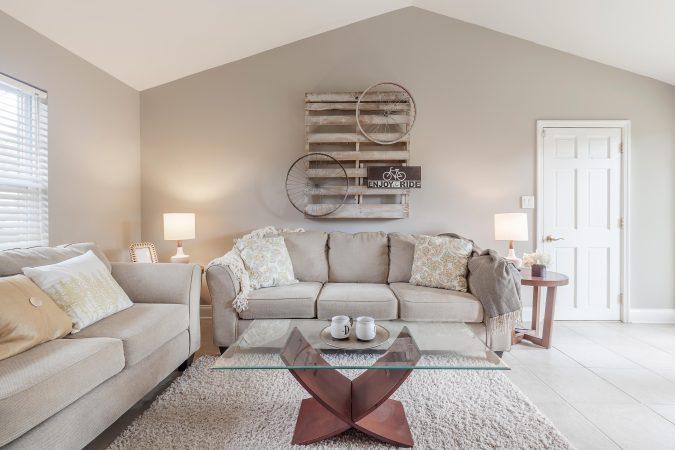 Modern Glass Coffee Table & Shag Throw Rug in Family Room